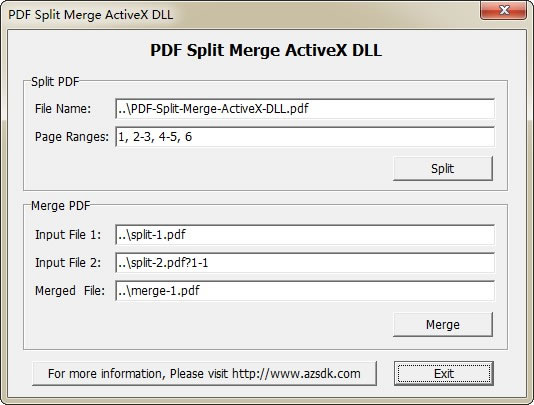 AzSDK PDF Split Merge ActiveX DLL Screen shot